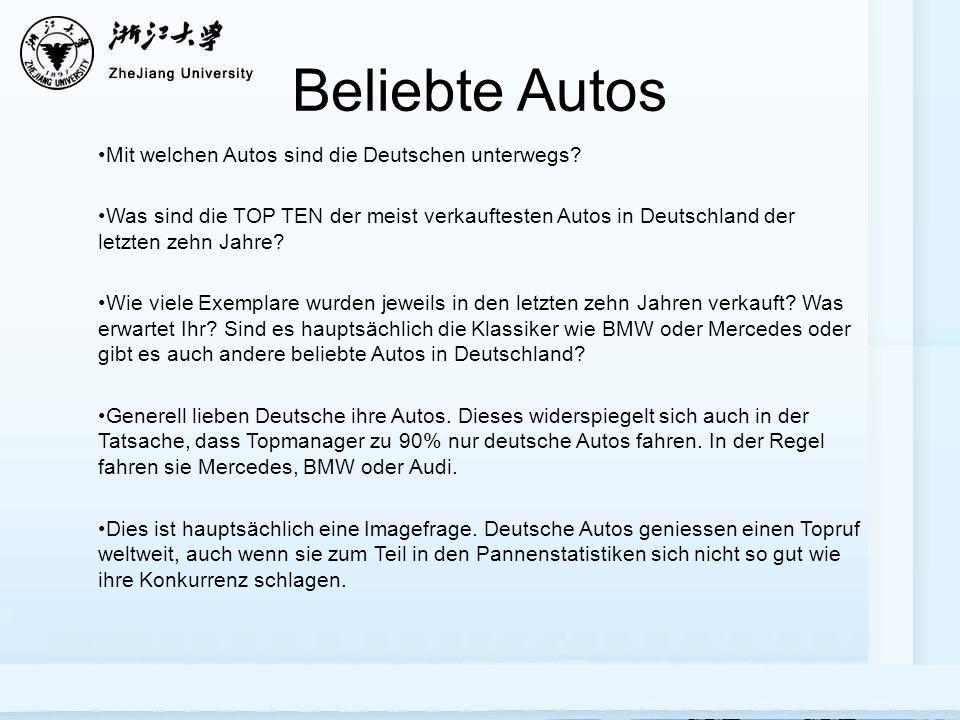 Beliebte Autos Mit welchen Autos sind die Deutschen unterwegs.