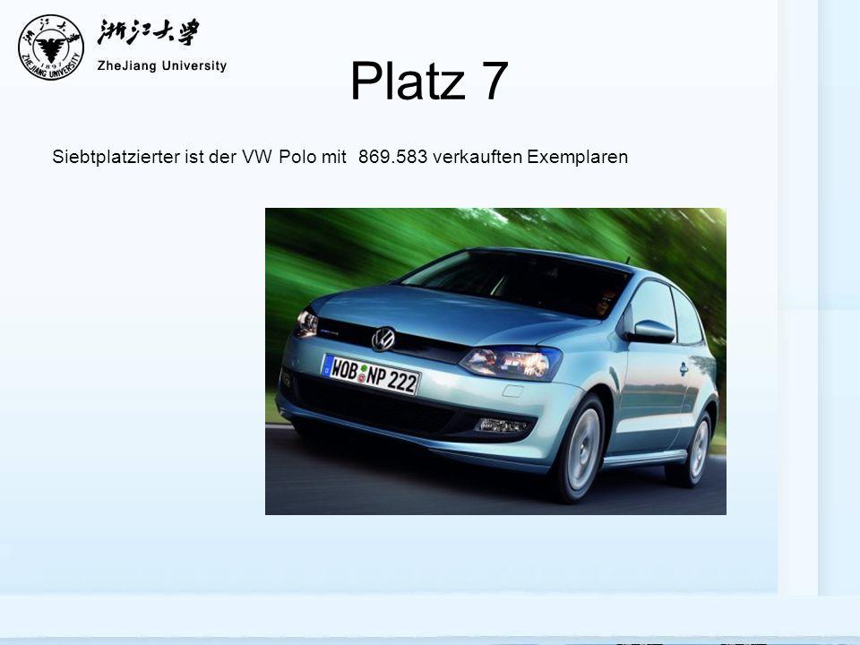 Platz 7 Siebtplatzierter ist der VW Polo mit 869.583 verkauften Exemplaren