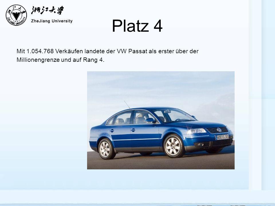 Platz 4 Mit 1.054.768 Verkäufen landete der VW Passat als erster über der Millionengrenze und auf Rang 4.