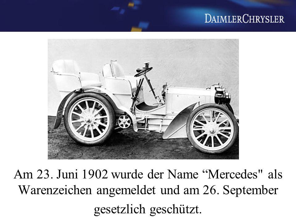 1909 Dreizackstern Lorbeerkranz, Benz 1916 Dreizackstern, Kreis, vier kleine Sterne, Mercedes 1926 Dreizackstern, Mercedes, Benz, Lorbeerkranz 1933 Dreizackstern, Kreis