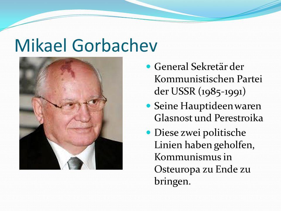 GLASNOST 1988 Neue Freiheit für Leute, die unter Kommunismus in der USSR und DDR lebten Weniger Pressekontrolle Mehr Meinungsfreiheit Politische Häftlinge wurden befreit