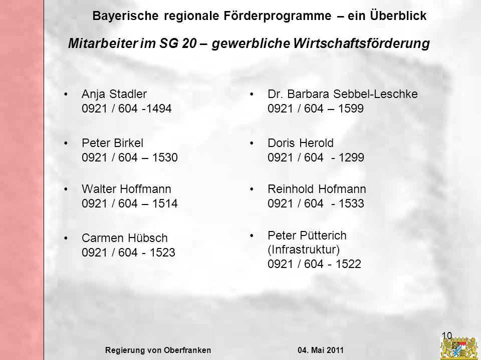Regierung von Oberfranken04. Mai 2011 Bayerische regionale Förderprogramme – ein Überblick 10 Mitarbeiter im SG 20 – gewerbliche Wirtschaftsförderung