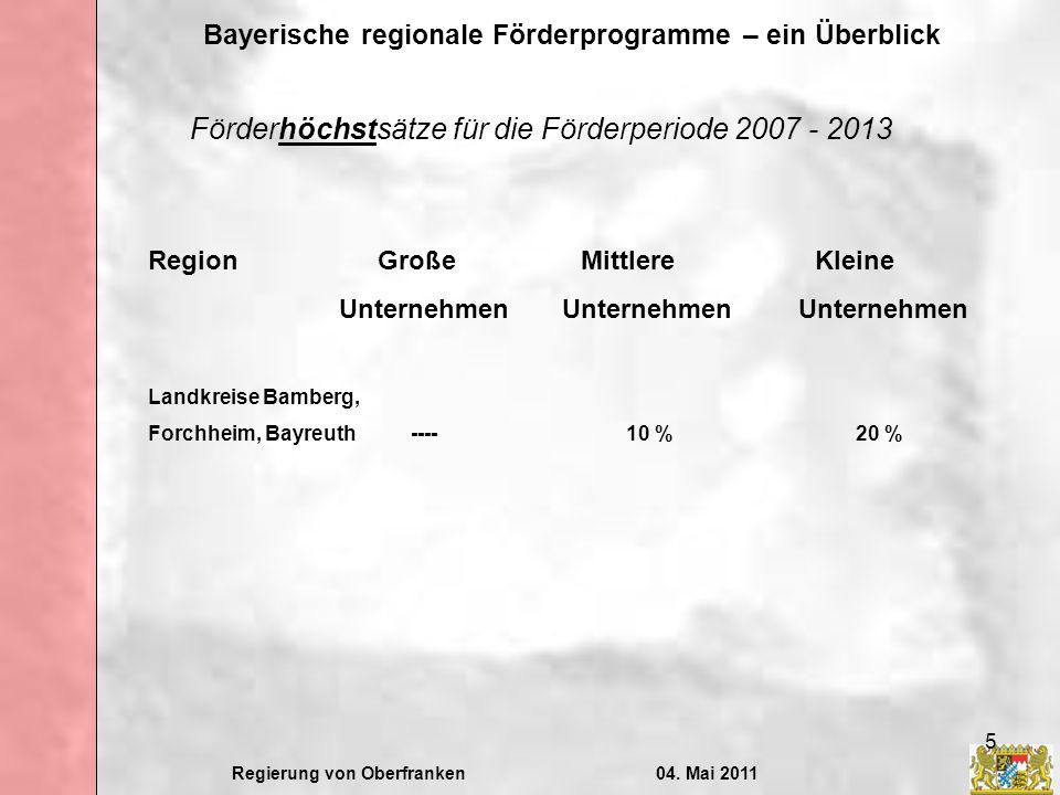Regierung von Oberfranken04. Mai 2011 Bayerische regionale Förderprogramme – ein Überblick 5 Förderhöchstsätze für die Förderperiode 2007 - 2013 Regio
