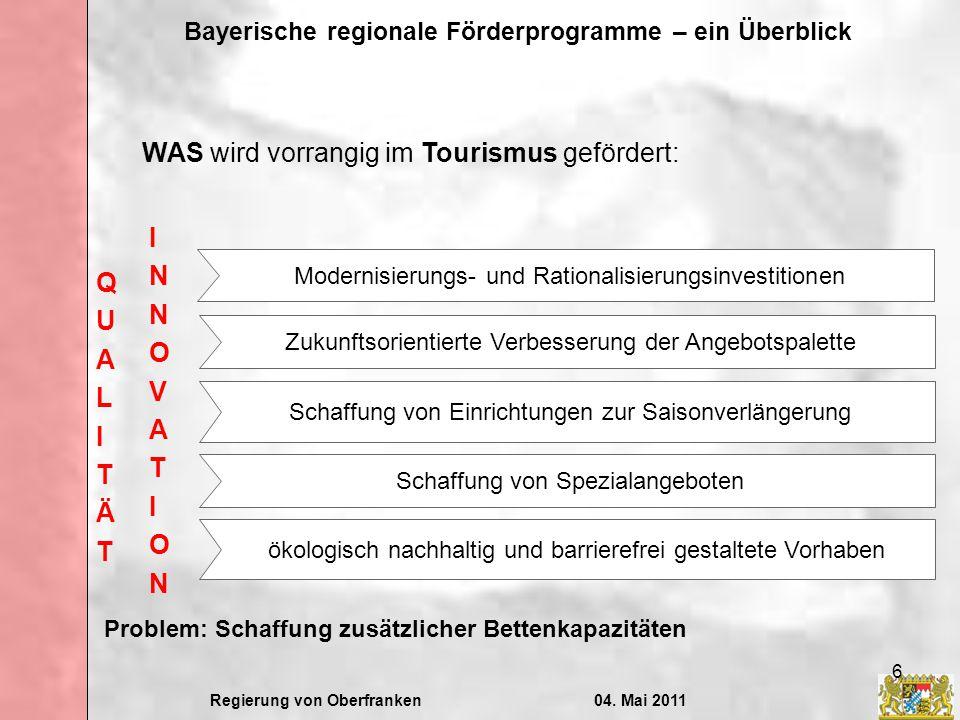 Regierung von Oberfranken04. Mai 2011 Bayerische regionale Förderprogramme – ein Überblick 6 WAS wird vorrangig im Tourismus gefördert: Zukunftsorient