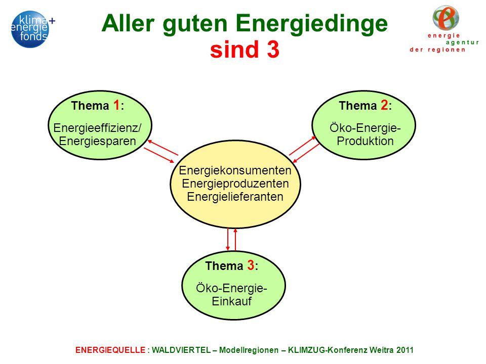 ENERGIEQUELLE : WALDVIERTEL – Modellregionen – KLIMZUG-Konferenz Weitra 2011 Aller guten Energiedinge sind 3 Thema 1 : Energieeffizienz/ Energiesparen Energiekonsumenten Energieproduzenten Energielieferanten Thema 2 : Öko-Energie- Produktion Thema 3 : Öko-Energie- Einkauf