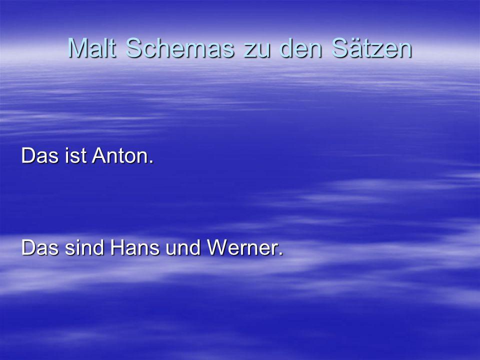 Malt Schemas zu den Sätzen Das ist Anton. Das sind Hans und Werner.