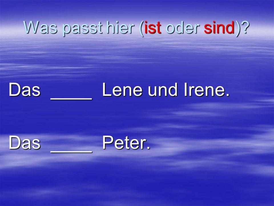 Was passt hier (ist oder sind) Das ____ Lene und Irene. Das ____ Peter.