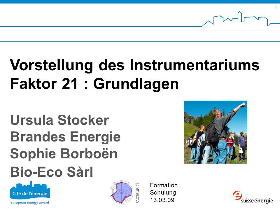 SuisseEnergie pour les communes 12 Faktor 21 ENCO AG, 2006 Nachhaltige Entwicklung: Idealer Ablauf in Kommunen Akteure von EnergieSchweiz für Gemeinden