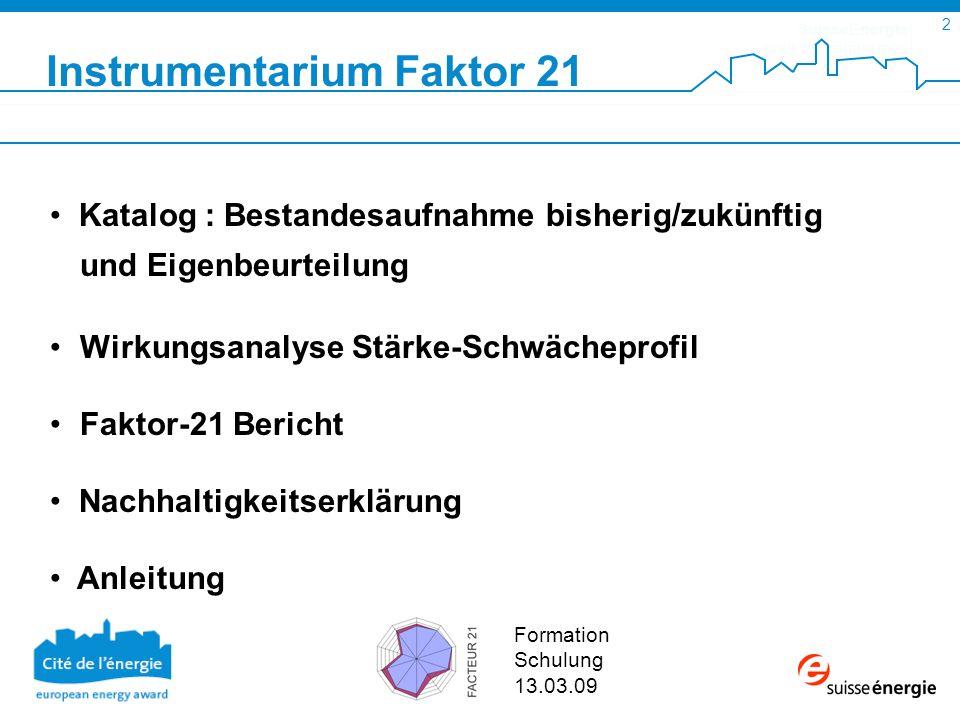 SuisseEnergie pour les communes 3 Formation Schulung 13.03.09 Bestandesaufnahme F ü r jeden der zehn Bereiche werden anhand von f ü nf Fragen (laufende und zukünftige ) nachhaltige Projekte aufgelistet.