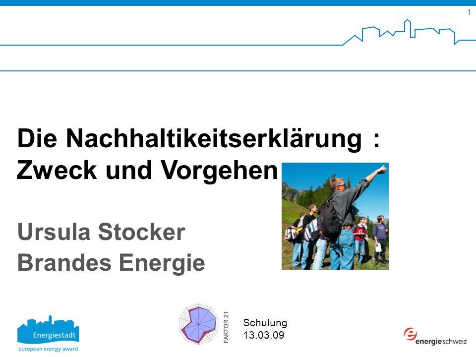 SuisseEnergie pour les communes 1 Schulung 13.03.09 Die Nachhaltikeitserklärung : Zweck und Vorgehen Ursula Stocker Brandes Energie