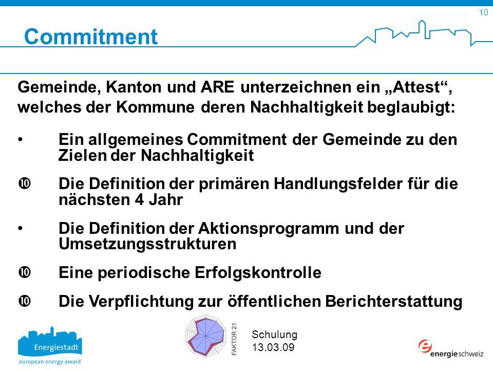SuisseEnergie pour les communes 10 Schulung 13.03.09 Commitment Gemeinde, Kanton und ARE unterzeichnen ein Attest, welches der Kommune deren Nachhalti