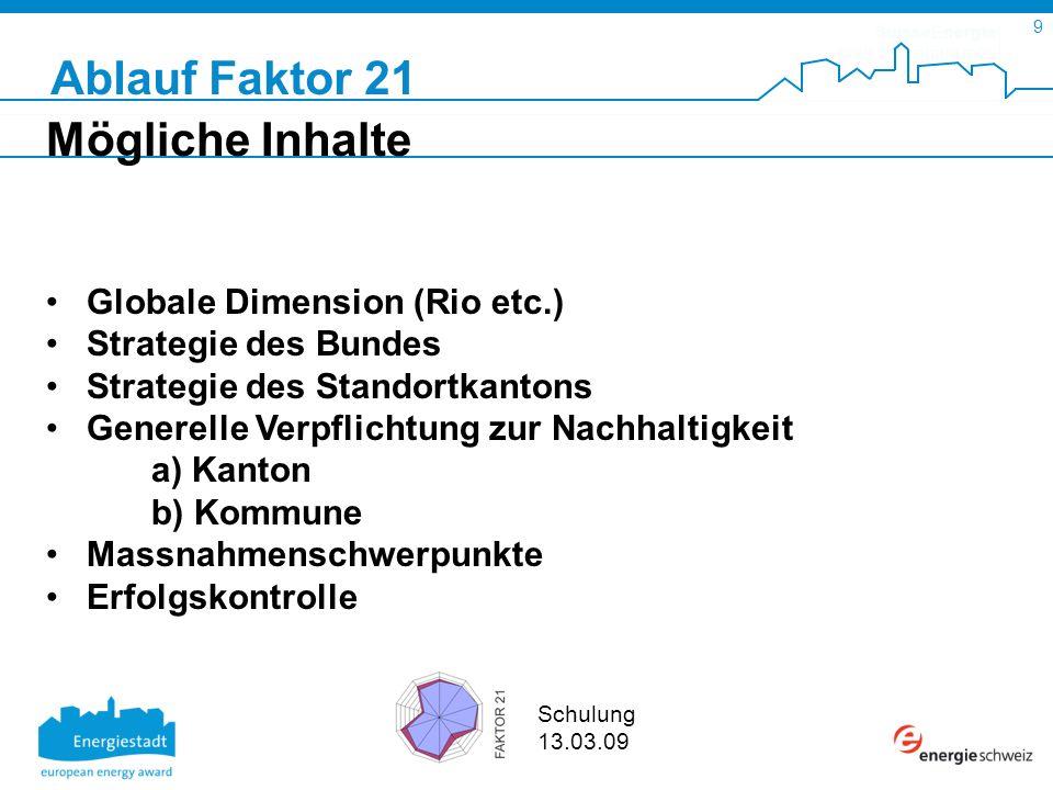 SuisseEnergie pour les communes 9 Schulung 13.03.09 Mögliche Inhalte Globale Dimension (Rio etc.) Strategie des Bundes Strategie des Standortkantons G