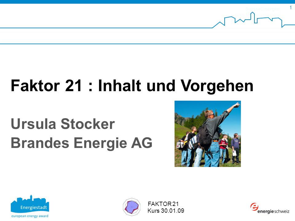 SuisseEnergie pour les communes 1 FAKTOR 21 Kurs 30.01.09 Faktor 21 : Inhalt und Vorgehen Ursula Stocker Brandes Energie AG