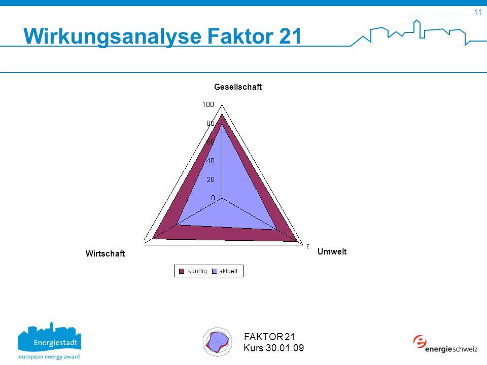 SuisseEnergie pour les communes 11 FAKTOR 21 Kurs 30.01.09 Wirkungsanalyse Faktor 21 Umwelt Wirtschaft Gesellschaft künftigaktuell