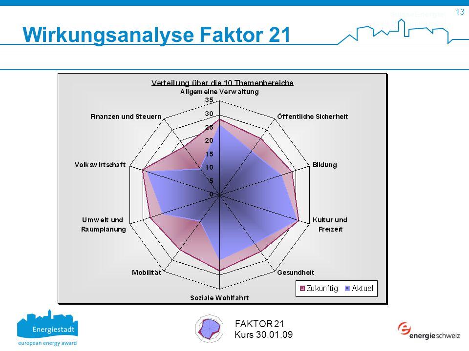 SuisseEnergie pour les communes 13 FAKTOR 21 Kurs 30.01.09 Wirkungsanalyse Faktor 21