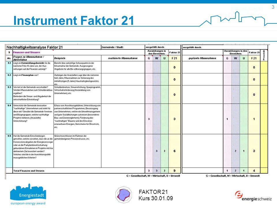 SuisseEnergie pour les communes 3 FAKTOR 21 Kurs 30.01.09 Instrument Faktor 21