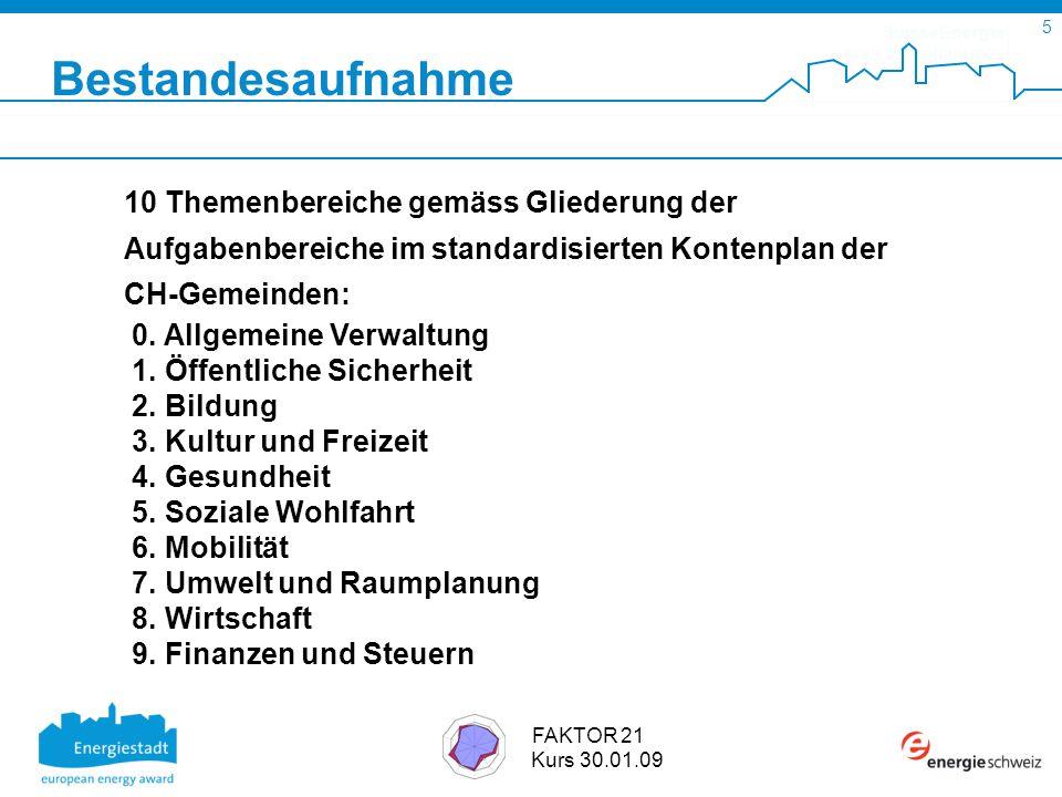 SuisseEnergie pour les communes 5 FAKTOR 21 Kurs 30.01.09 10 Themenbereiche gemäss Gliederung der Aufgabenbereiche im standardisierten Kontenplan der CH-Gemeinden: 0.