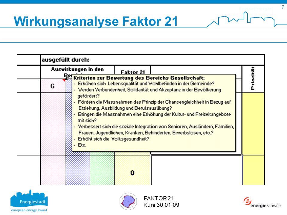 SuisseEnergie pour les communes 7 FAKTOR 21 Kurs 30.01.09 Wirkungsanalyse Faktor 21