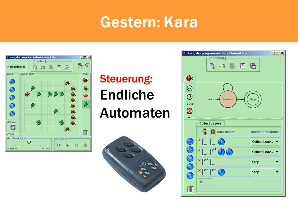 if (!kara.treeFront()) { while (!kara.onLeaf()) do { kara.putLeaf(); kara.move(); kara.turnRight(); kara.move(); kara.turnLeft(); } Verzweigung Wiederholung Sequenz Befehl