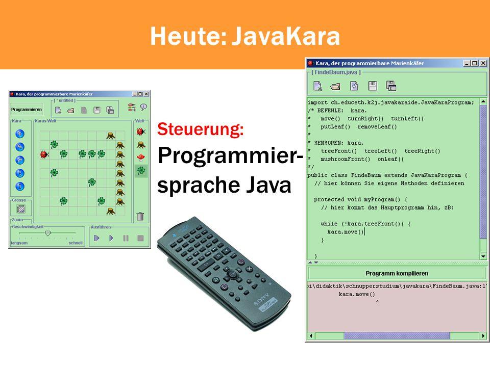 Kompilieren Um Kara mit Java zu füttern, muss der Text mit dem Java-Programm kompiliert werden 01001001101110101111010 10010100111000010110111 10100110101011100 ?.