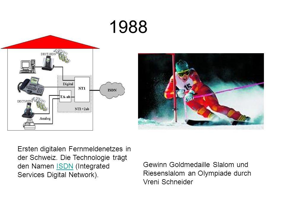 1988 Ersten digitalen Fernmeldenetzes in der Schweiz.