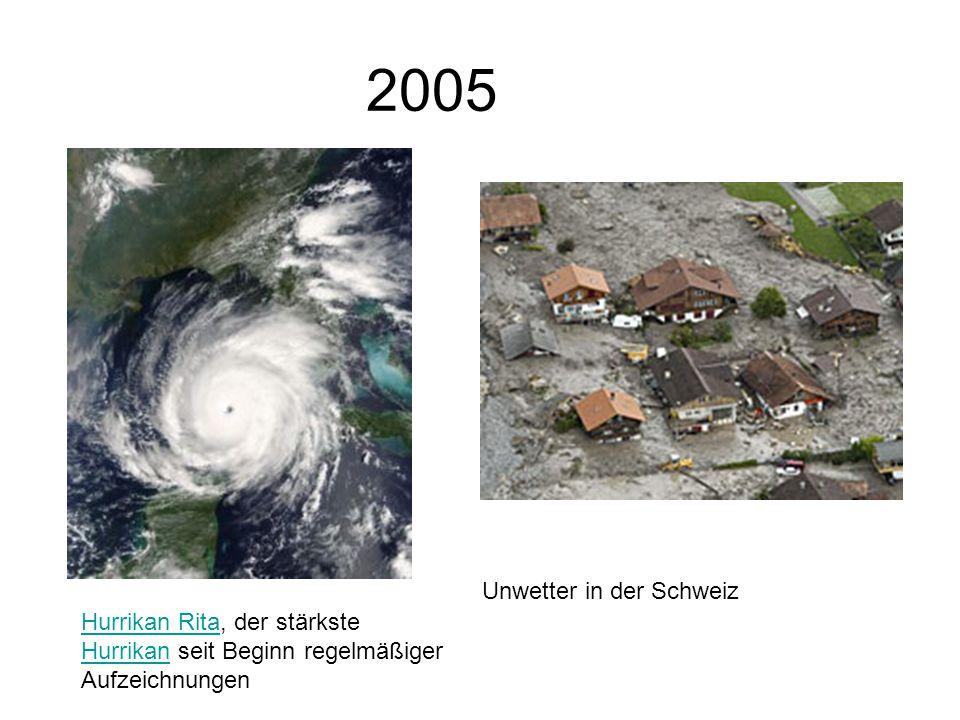 2005 Hurrikan RitaHurrikan Rita, der stärkste Hurrikan seit Beginn regelmäßiger Aufzeichnungen Hurrikan Unwetter in der Schweiz