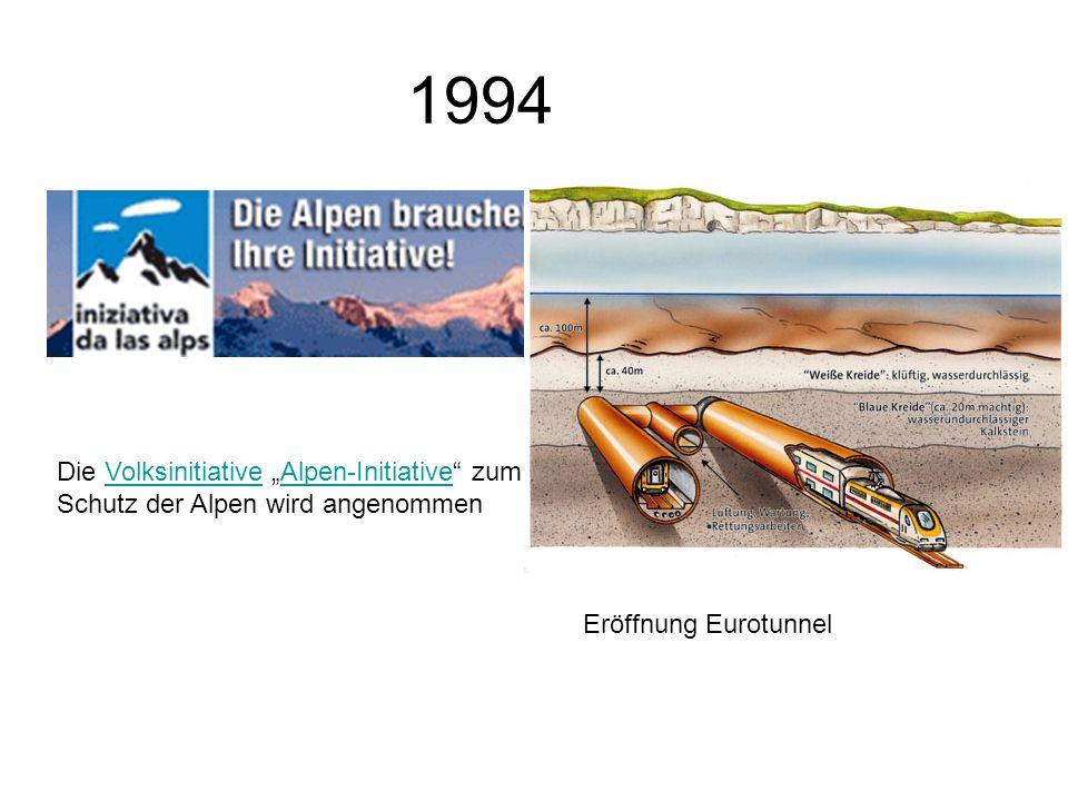 1994 Die Volksinitiative Alpen-Initiative zum Schutz der Alpen wird angenommenVolksinitiativeAlpen-Initiative Eröffnung Eurotunnel