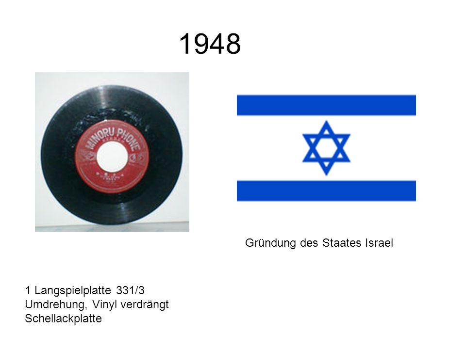 1948 1 Langspielplatte 331/3 Umdrehung, Vinyl verdrängt Schellackplatte Gründung des Staates Israel