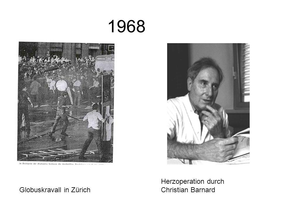 1968 Globuskravall in Zürich Herzoperation durch Christian Barnard