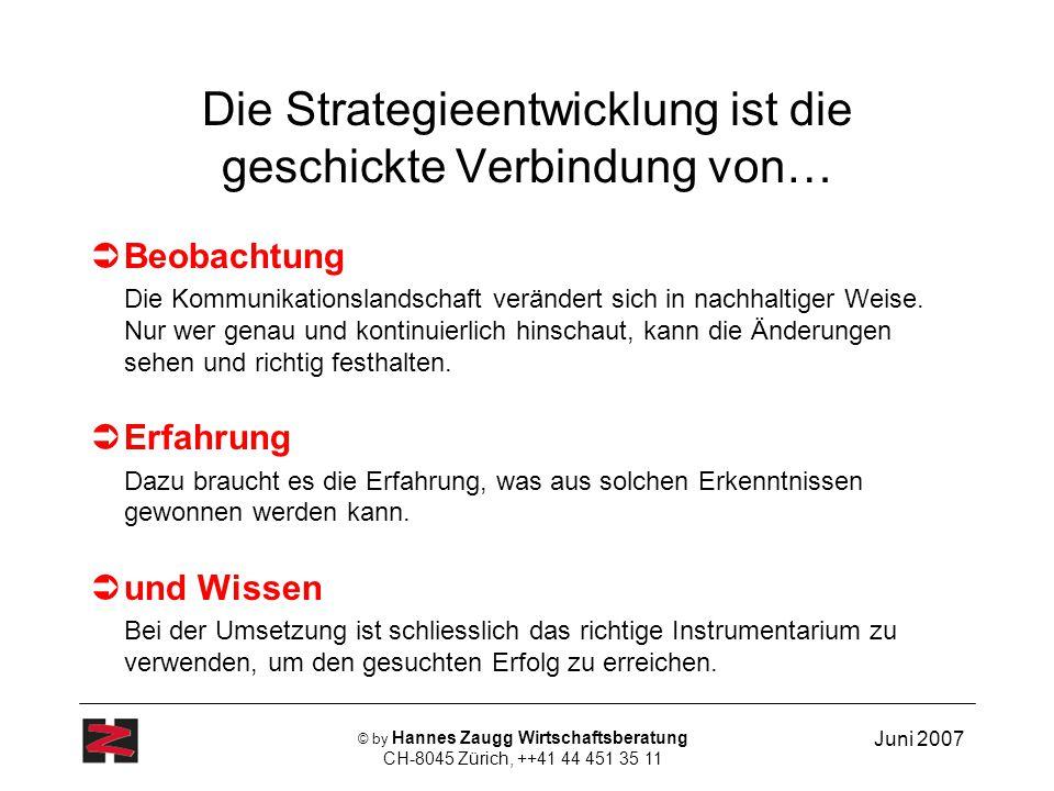 Juni 2007 © by Hannes Zaugg Wirtschaftsberatung CH-8045 Zürich, ++41 44 451 35 11 Die Strategieentwicklung ist die geschickte Verbindung von… Beobacht