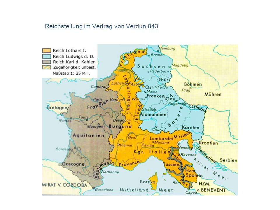 Reichsteilung im Vertrag von Verdun 843