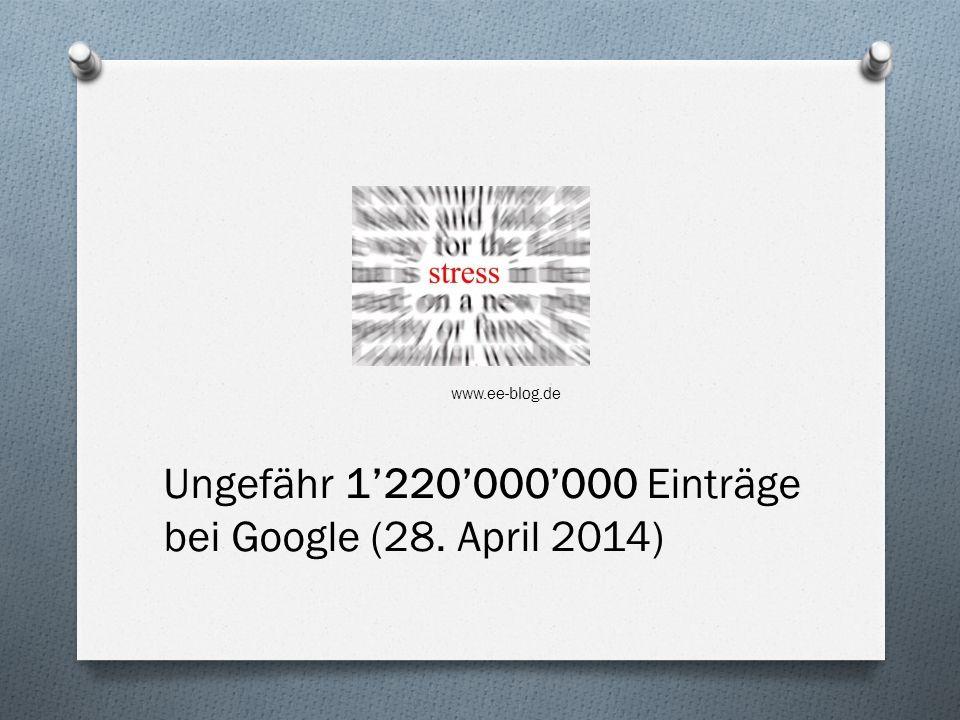 www.ee-blog.de Ungefähr 1220000000 Einträge bei Google (28. April 2014)