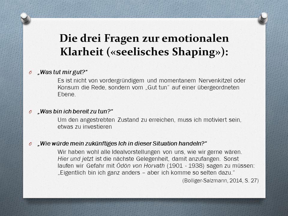 Die drei Fragen zur emotionalen Klarheit («seelisches Shaping»): O Was tut mir gut.