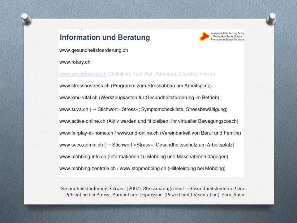 Gesundheitsförderung Schweiz (2007).