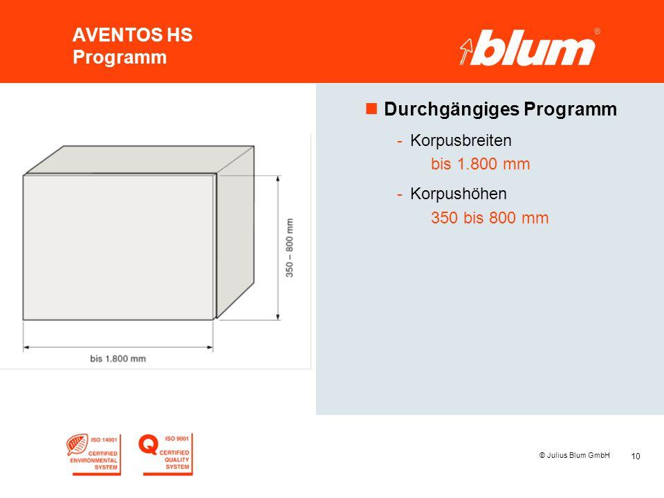 10 © Julius Blum GmbH AVENTOS HS Programm nDurchgängiges Programm -Korpusbreiten bis 1.800 mm -Korpushöhen 350 bis 800 mm