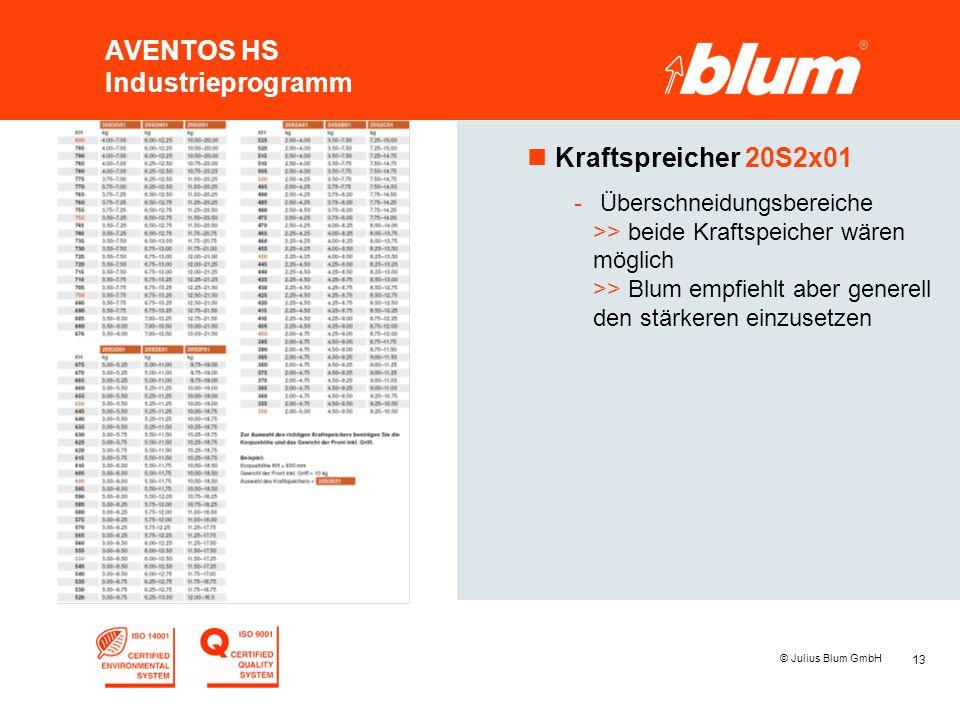 13 © Julius Blum GmbH AVENTOS HS Industrieprogramm nKraftspreicher 20S2x01 - Überschneidungsbereiche >> beide Kraftspeicher wären möglich >> Blum empf