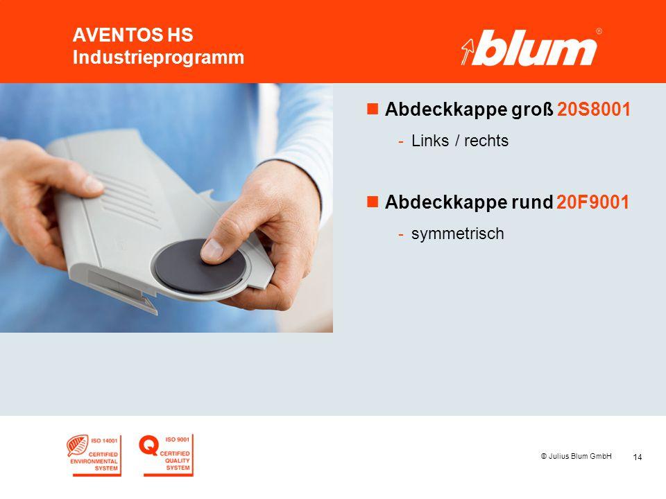 14 © Julius Blum GmbH AVENTOS HS Industrieprogramm nAbdeckkappe groß 20S8001 -Links / rechts nAbdeckkappe rund 20F9001 -symmetrisch
