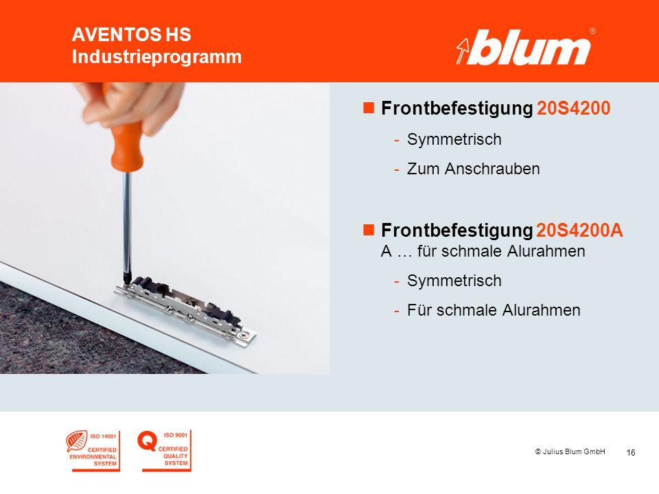 16 © Julius Blum GmbH AVENTOS HS Industrieprogramm nFrontbefestigung 20S4200 -Symmetrisch -Zum Anschrauben nFrontbefestigung 20S4200A A … für schmale