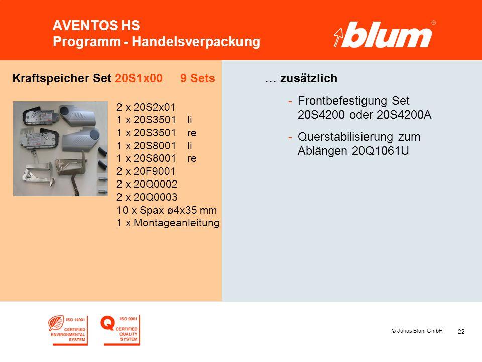 22 © Julius Blum GmbH AVENTOS HS Programm - Handelsverpackung Kraftspeicher Set 20S1x00 9 Sets 2 x 20S2x01 1 x 20S3501li 1 x 20S3501re 1 x 20S8001li 1