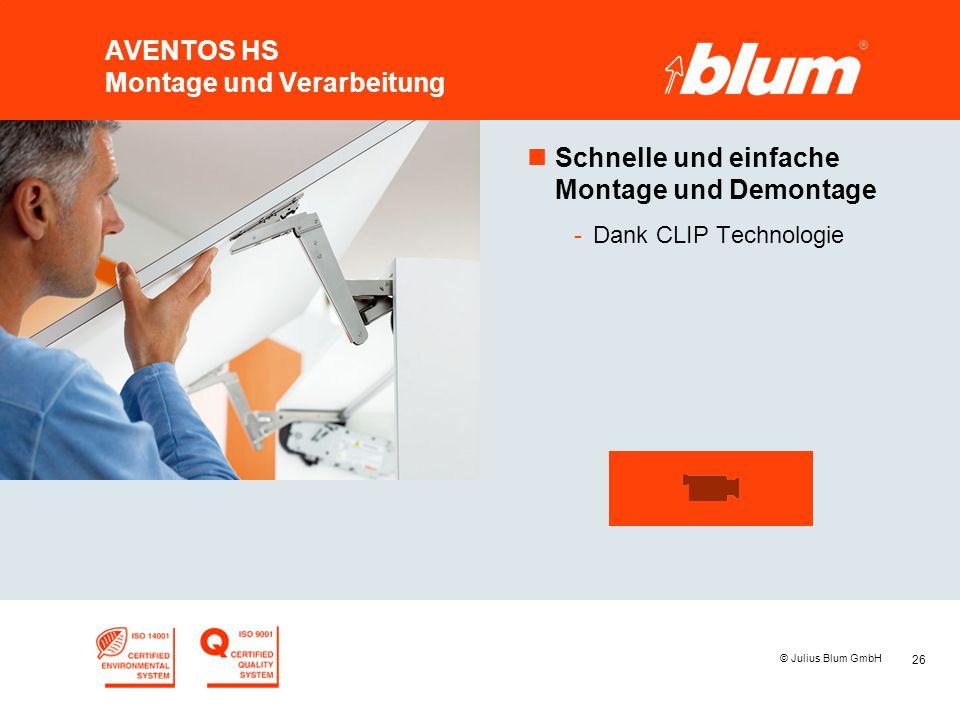26 © Julius Blum GmbH AVENTOS HS Montage und Verarbeitung nSchnelle und einfache Montage und Demontage -Dank CLIP Technologie