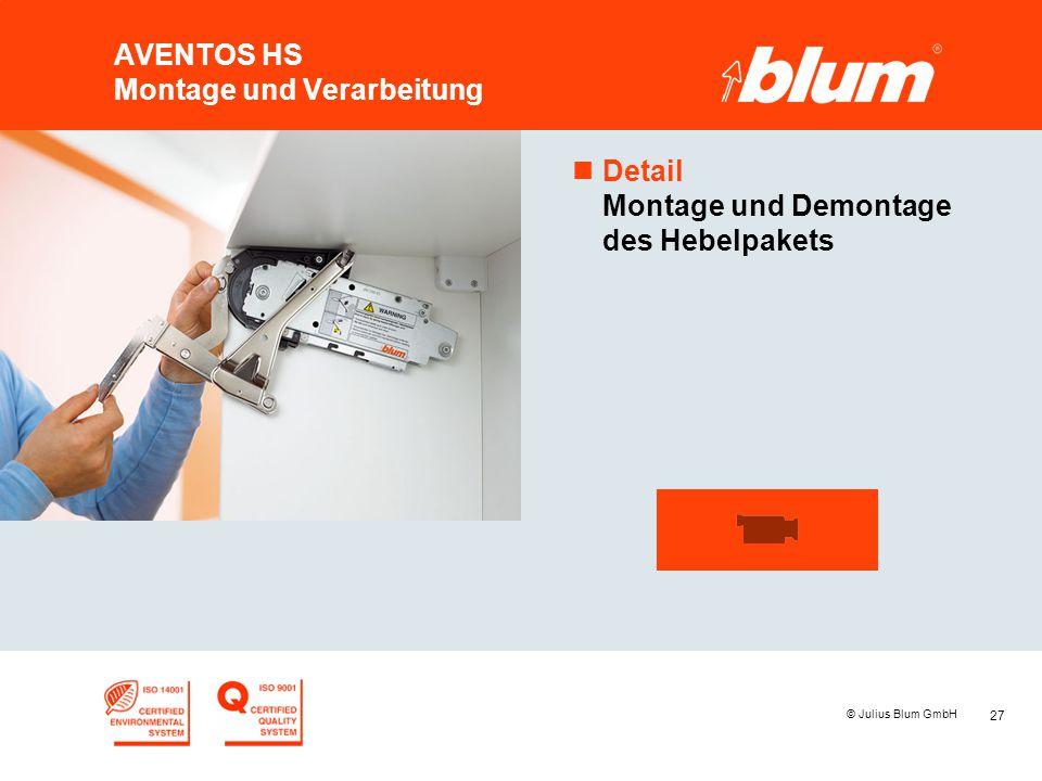 27 © Julius Blum GmbH AVENTOS HS Montage und Verarbeitung nDetail Montage und Demontage des Hebelpakets