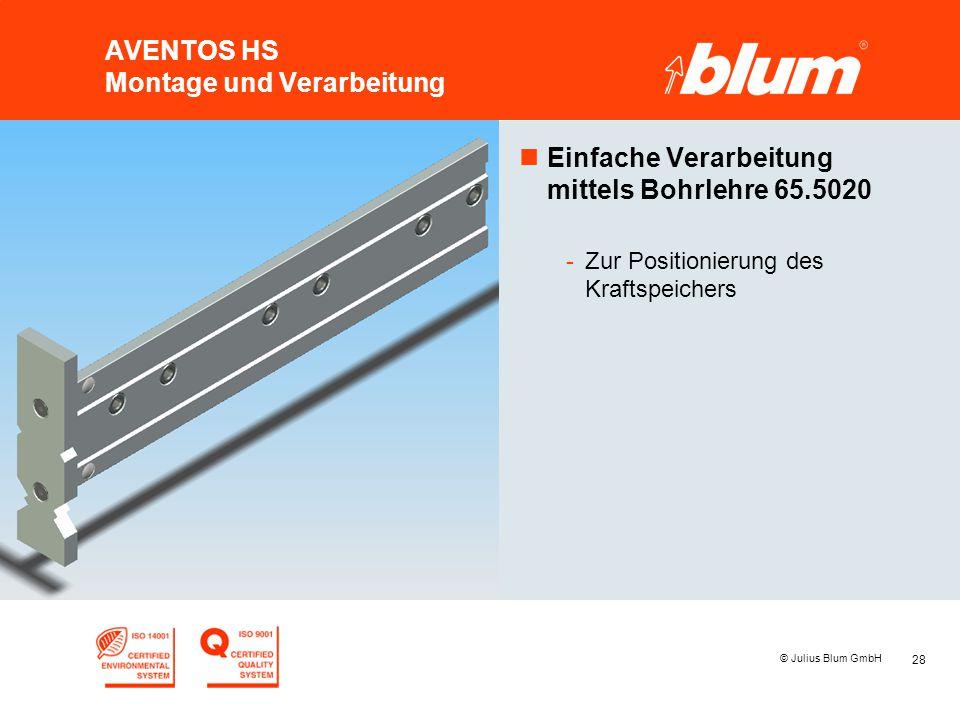 28 © Julius Blum GmbH AVENTOS HS Montage und Verarbeitung nEinfache Verarbeitung mittels Bohrlehre 65.5020 -Zur Positionierung des Kraftspeichers