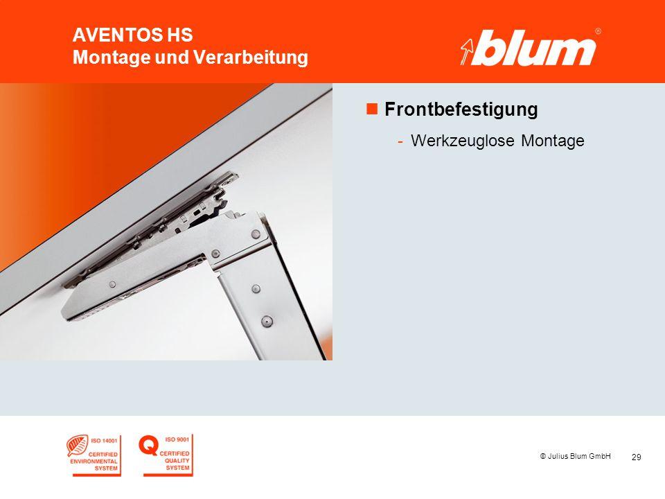 29 © Julius Blum GmbH AVENTOS HS Montage und Verarbeitung nFrontbefestigung -Werkzeuglose Montage