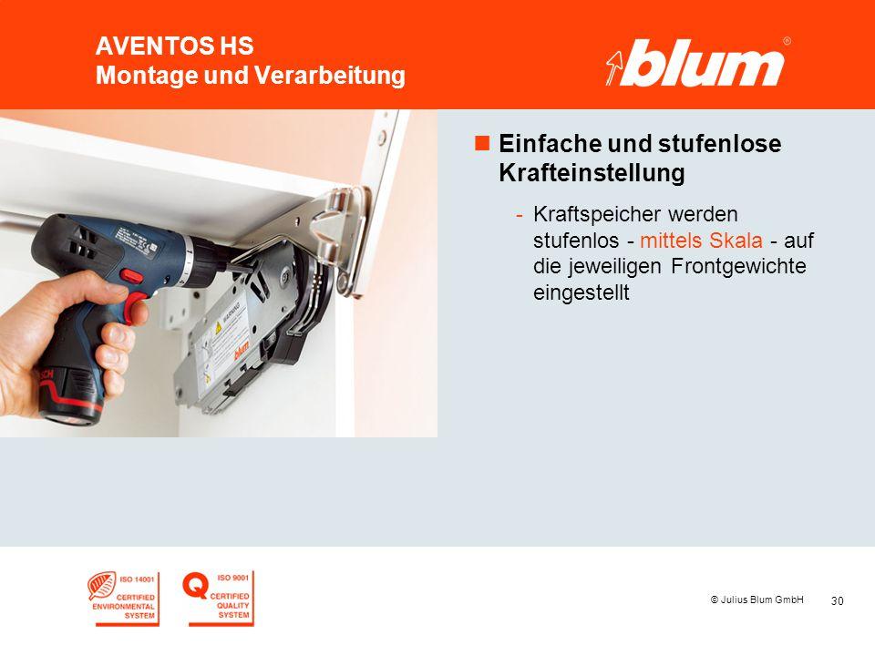 30 © Julius Blum GmbH AVENTOS HS Montage und Verarbeitung nEinfache und stufenlose Krafteinstellung -Kraftspeicher werden stufenlos - mittels Skala -