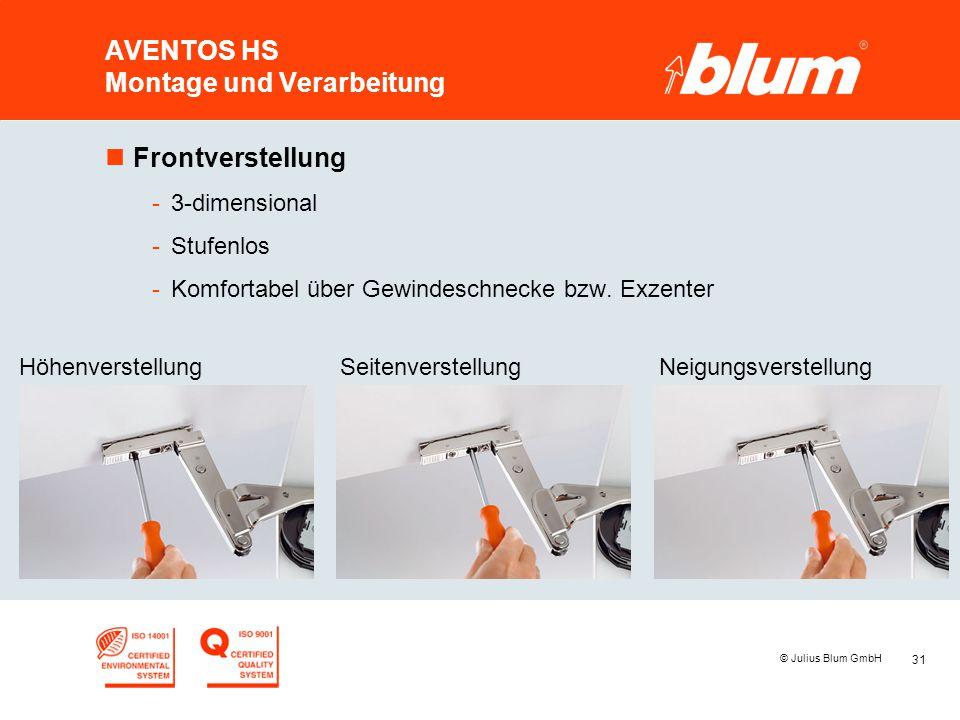 31 © Julius Blum GmbH AVENTOS HS Montage und Verarbeitung nFrontverstellung -3-dimensional -Stufenlos -Komfortabel über Gewindeschnecke bzw. Exzenter