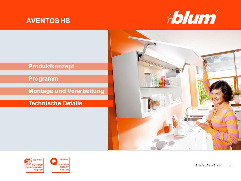 32 © Julius Blum GmbH AVENTOS HS Programm Produktkonzept Montage und Verarbeitung Technische Details