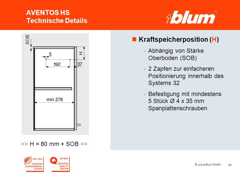 34 © Julius Blum GmbH AVENTOS HS Technische Details nKraftspeicherposition (H) -Abhängig von Stärke Oberboden (SOB) -2 Zapfen zur einfacheren Position