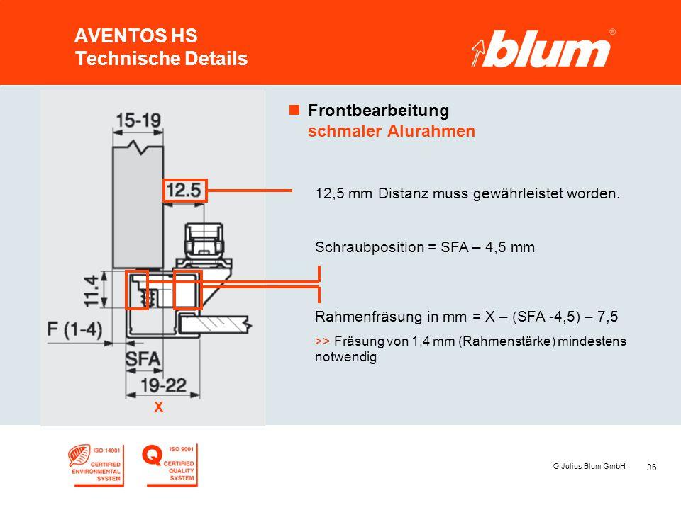 36 © Julius Blum GmbH AVENTOS HS Technische Details nFrontbearbeitung schmaler Alurahmen X 12,5 mm Distanz muss gewährleistet worden. Schraubposition
