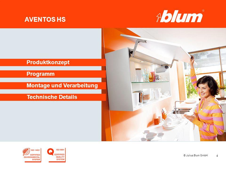 4 © Julius Blum GmbH AVENTOS HS Programm Produktkonzept Montage und Verarbeitung Technische Details
