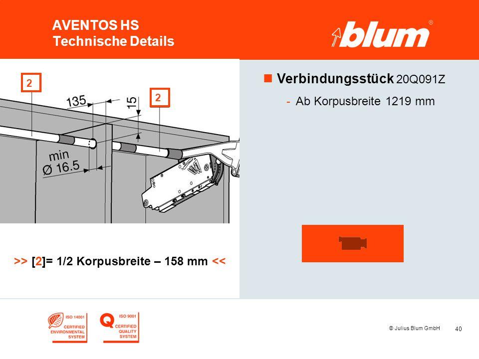 40 © Julius Blum GmbH AVENTOS HS Technische Details nVerbindungsstück 20Q091Z -Ab Korpusbreite 1219 mm >> [2]= 1/2 Korpusbreite – 158 mm << 2 2